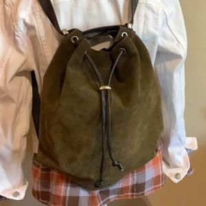 Owen Barry olive green convertible suede bag.
